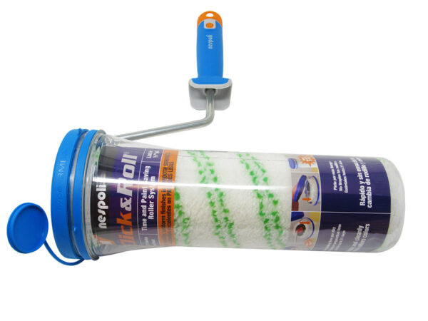 Nespoli Click and Roll Time-Saving Paint Roller with Freshbox Ritmo Teflon®-Coated 1/2in Outstanding Pick up and Release Fabric