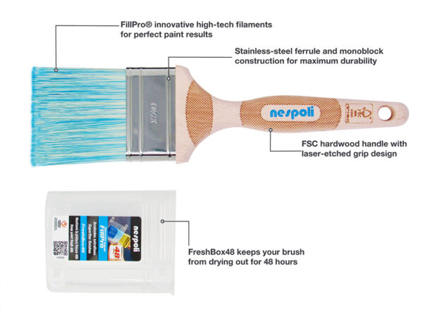 Nespoli FreshBox Paint Brush 65mm 2.5 inch Italian-Made with FillPro High-Tech Filaments